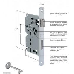 Serratura Patent Piccola Entrata 60mm Ottonata